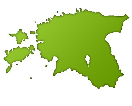 eastern europe: Estonia map in gradient green, isolated on white background.