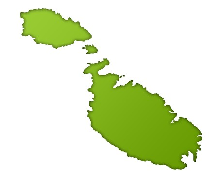 maltese map: Malta map in gradient green, isolated on white background.