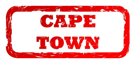 cape town: Used red Cape Town South Africa city travel passport stamp, isolated on white background.