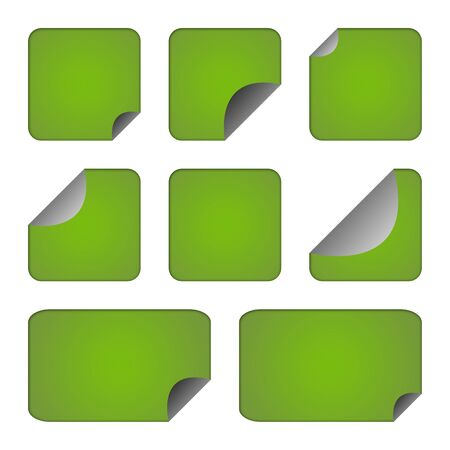 upturned: Set of eco green stickers or labels with copy space isolated on white background.