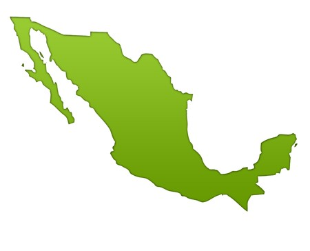 Mexico map in gradient green, isolated on white background.