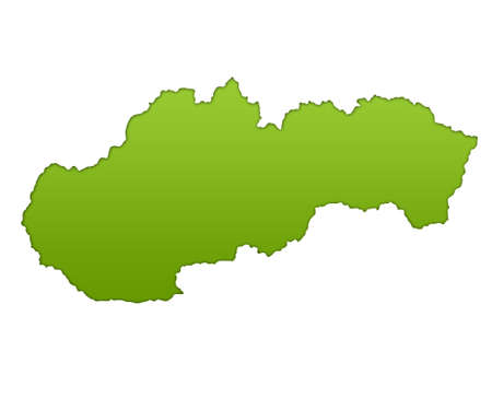 eastern europe: Slovakia map in gradient green, isolated on white background.