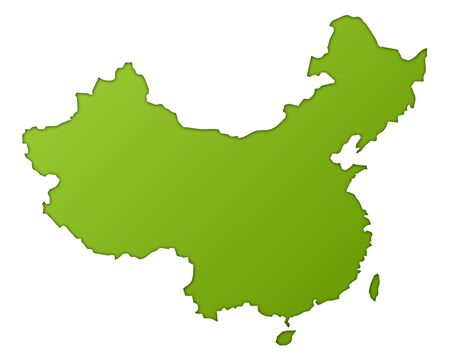China map in gradient green, isolated on white background. photo