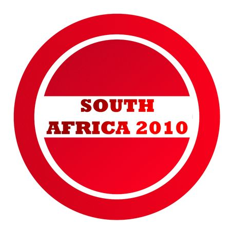 franked: Textured South Africa 2010 red stamp isolated on white background with copy space.