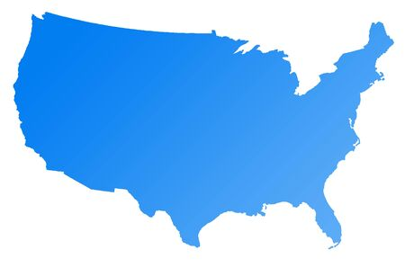 2d map: Map of America or USA, isolated on white background.