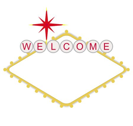 Blank welcome to Las Vegas neon sign, isolated on white background. photo
