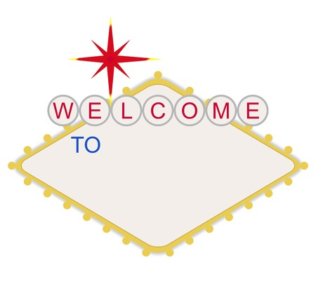 Blank welcome to Las Vegas neon sign, isolated on white background.