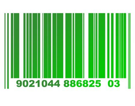 vertical bars: Environmental green gradient or eco bar code isolated on white background. Stock Photo