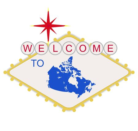 Welcome to Canada sign in style of famous Las Vegas sign, isolated on white background. Stock Photo - 7072163