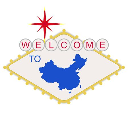 las vegas lights: Welcome to China sign in style of famous fabulous Las Vegas sign, isolated on white background. Stock Photo