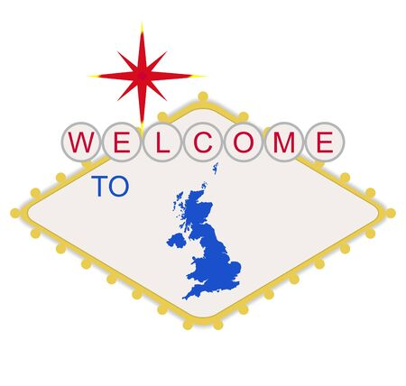 Welcome to England or United Kingdom sign in style of famous fabulous Las Vegas sign, isolated on white background. Stock Photo - 7072164