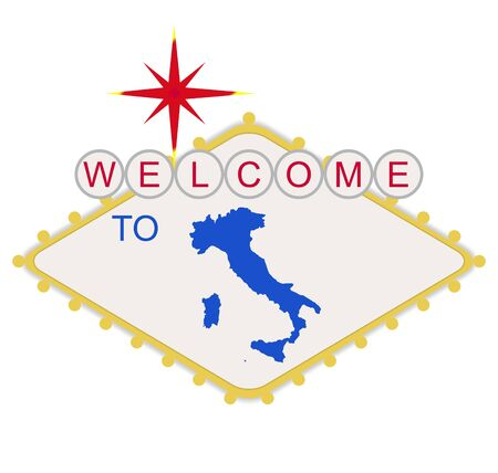 las vegas lights: Welcome to Italy sign in style of famous fabulous Las Vegas sign, isolated on white background.
