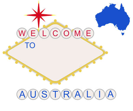 Welcome to Australia sign in style of famous fabulous Las Vegas sign with map and text, isolated on white background. photo