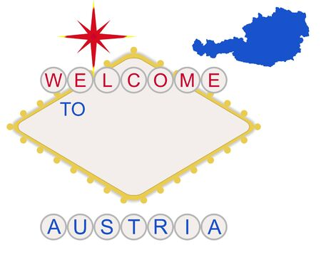Welcome to Austria in style of fabulous Las Vegas sign with map and text, isolated on white background. photo