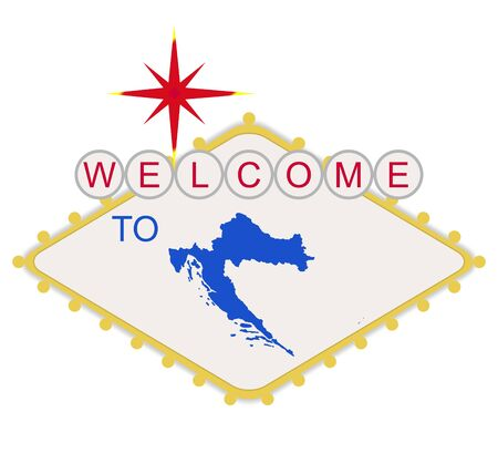las vegas lights: Welcome to Croatia sign in style of famous Las Vegas sign, isolated on white background.