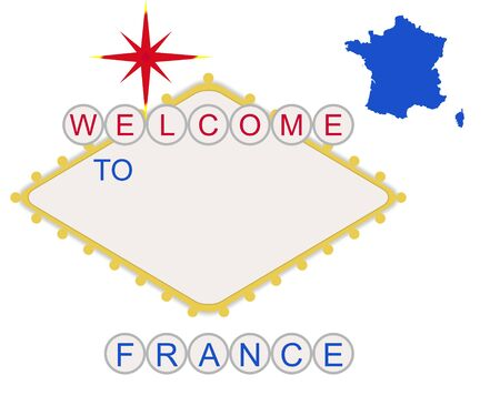 Welcome to France in style of fabulous Las Vegas sign with map and text, isolated on white background. Stock Photo - 7101239