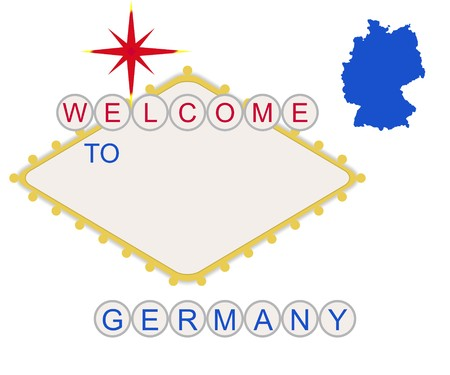 Welcome to Germany in style of fabulous Las Vegas sign with map and text, isolated on white background. photo
