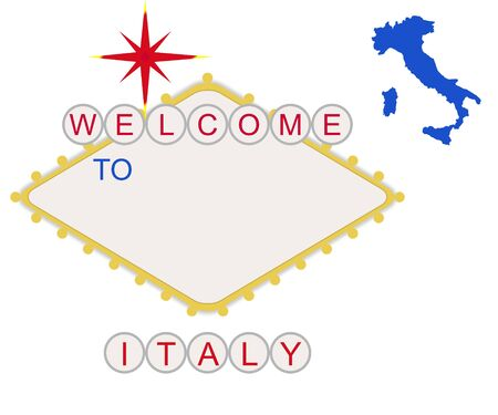 Welcome to Italy in style of fabulous Las Vegas sign with map and text, isolated on white background. Stock Photo - 7101222