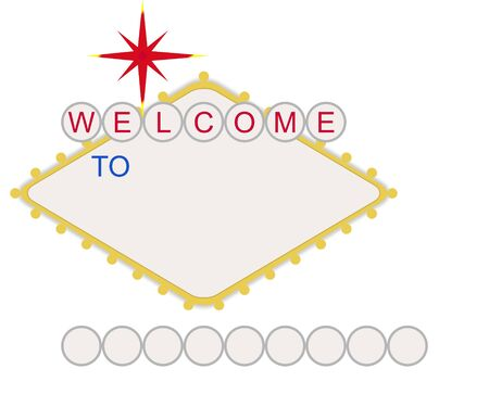 Welcome to in style of fabulous Las Vegas sign with map and text, isolated on white background. Stock Photo - 7101211