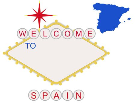 Welcome to Spain in style of fabulous Las Vegas sign with map and text, isolated on white background. photo