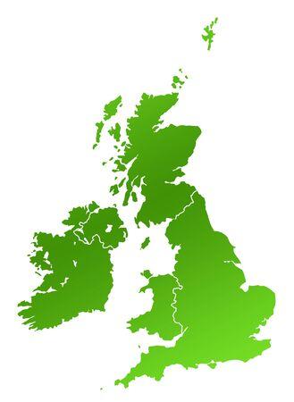 연합 왕국: United Kingdom and Ireland map, isolated on white background.