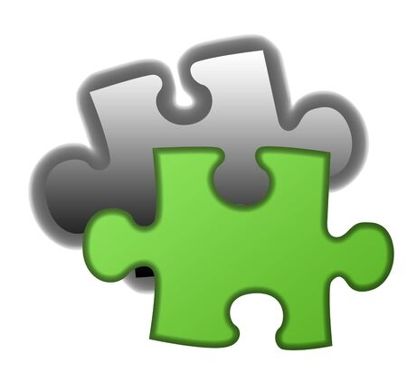 final piece of the puzzle: Final piece of green eco jigsaw, isolated on white background.