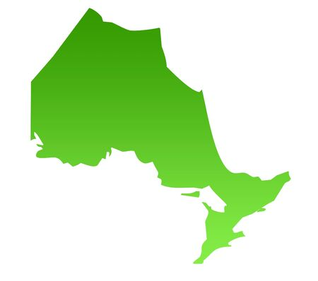 territories: Map of Canadian province of Ontario in green, isolated on white background. Stock Photo