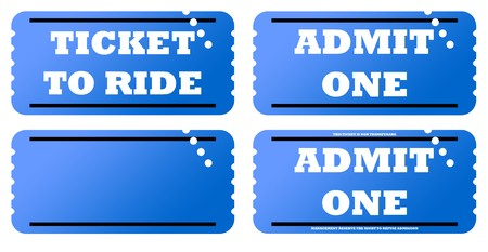 Set of four blue tickets, isolated on white background. photo