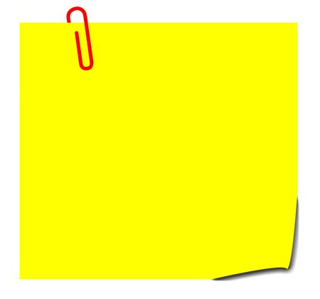 reminding: Blank yellow sticky note with paperclip, isolated on white background. Stock Photo