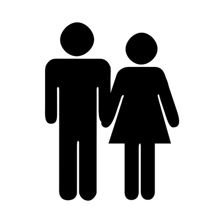 love symbol: Silhouette of couple, man and woman, holding hands on white background.