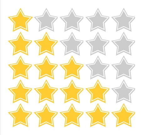 scale icon: Illustration of five star quality rating scheme, isolated on white background. Stock Photo
