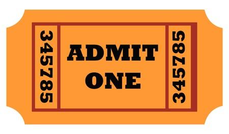 Admit one entrance ticket isolated on white background. photo
