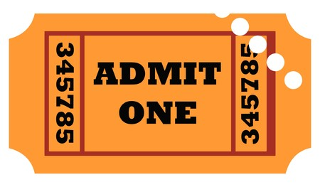 Used admit one entrance ticket isolated on white background. photo