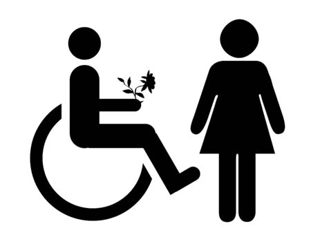 heterosexual couple: Romantic disabled man in wheelchair giving flowers to woman, isolated on white background. Stock Photo