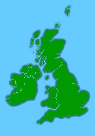 United Kingdom and Ireland map isolated on blue background. photo