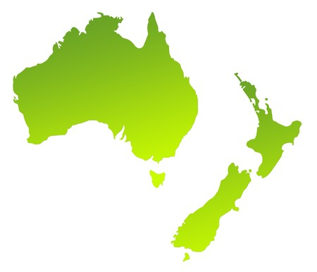 overhead: Green gradient map of Australia and New Zealand isolated on a white background.