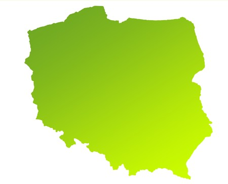 solated: Green gradient map of Poland solated on a white background.