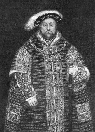 henry: Original engraving by J Cooke of Henry VIII circa 1850 showing him in 1560. Public domain image by virtue of age. Stock Photo