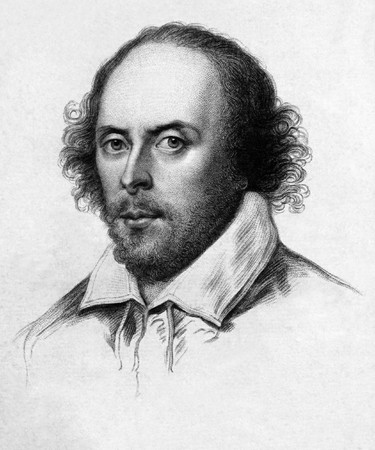 Copperplate engraving of a drawing of the Chandos portrait of William Shakespeare, circa 1783. From an 1824 edition of James Boaden's work on the portraits of William Shakespeare (London: R. Triphook). Public domain image by virtue of age.