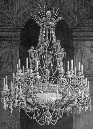 Engraving of old chandelier with angels by artist Louis Figuier. Published in book  Stock Photo - 7424909