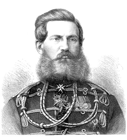 Black and white engraved portrait of Crown Prince Frederick William III or Prussia.  From a portrait taken in St. Petersburg by unknown engraver, published in Illustrated London News on Aug 20th, 1870. He was a German Emperor and King of Prussia for Stock Photo - 7366652