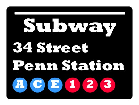 subway station: New York 34 street Penn station subway train sign isolated on black background. Stock Photo