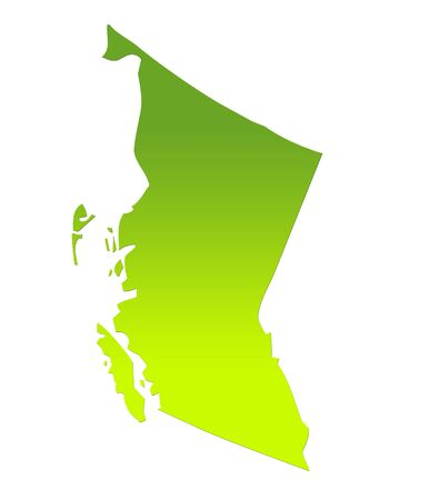 british columbia: British Columbia province of Canada map in gradient green, isolated on white background.