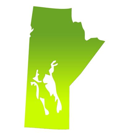 manitoba: Manitoba province of Canada map in gradient green, isolated on white background.