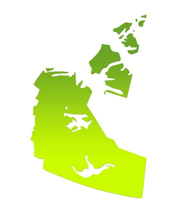 northwest: Northwest Territories province of Canada map in gradient green, isolated on white background. Stock Photo