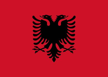 Sovereign state flag of country of Albania in official colors. Stock Photo - 7449758