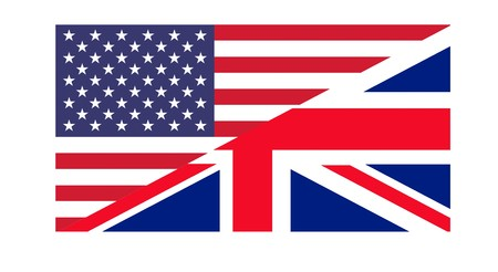 American and British flags joined together, isolated on white background. photo