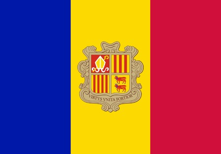 Sovereign state flag of country of Andorra in official colors. Stock Photo - 7449761