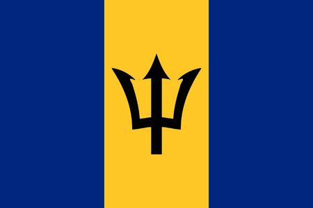 sovereign: Sovereign state flag of country of Barbados in official colors. Stock Photo