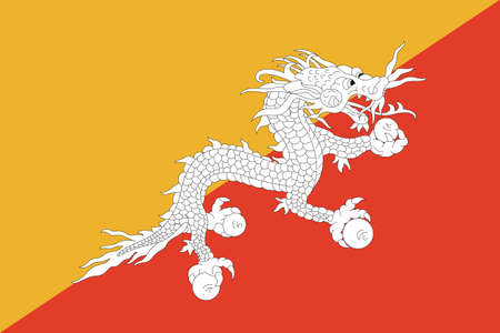 sovereign: Sovereign state flag of country of Bhutan in official colors.